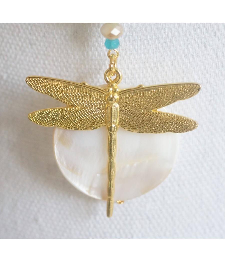 sautoir collier pendentif libellule bronze et turquoise Top tendance